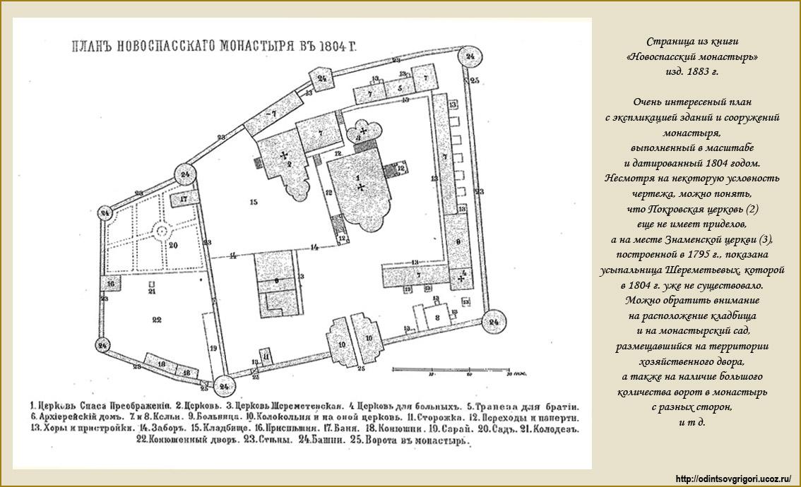 план монастыря в XIX веке: